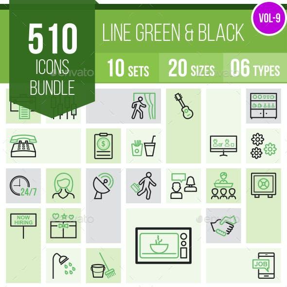 510 Vector Line Green & Black Icons Bundle (Vol-9)