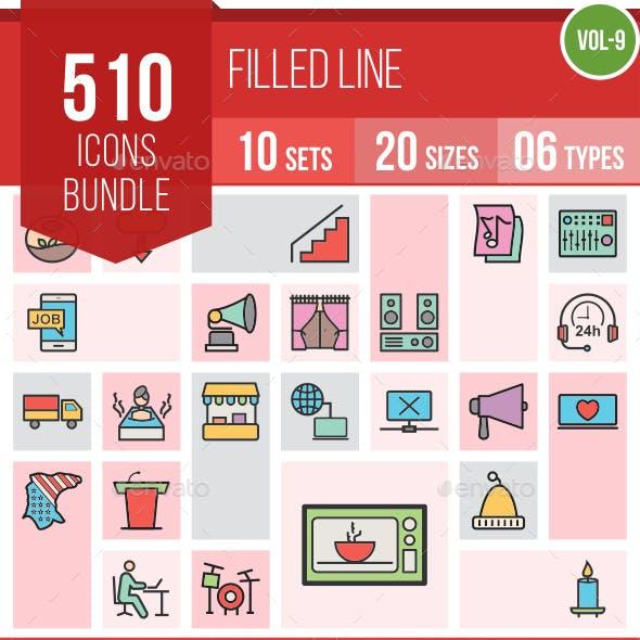 510 Vector Filled Line Icons Bundle (Vol-9)