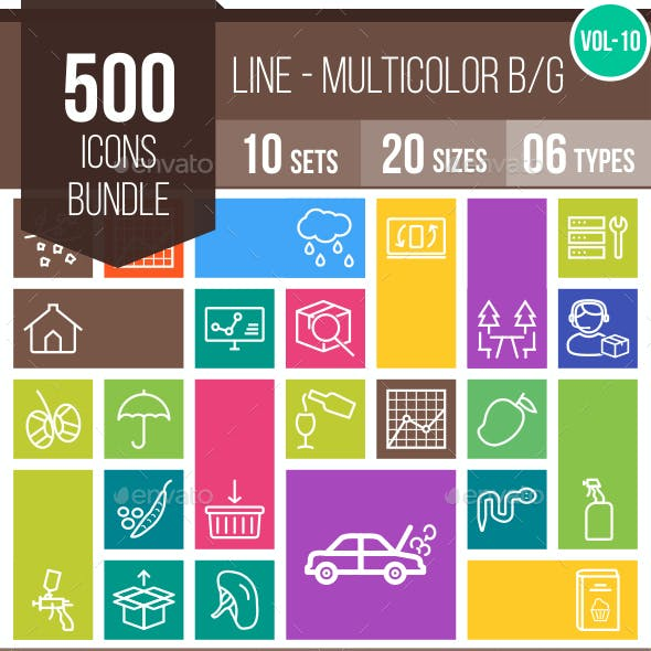 500 Vector Multicolor B/G Line Icons Bundle (Vol-10)