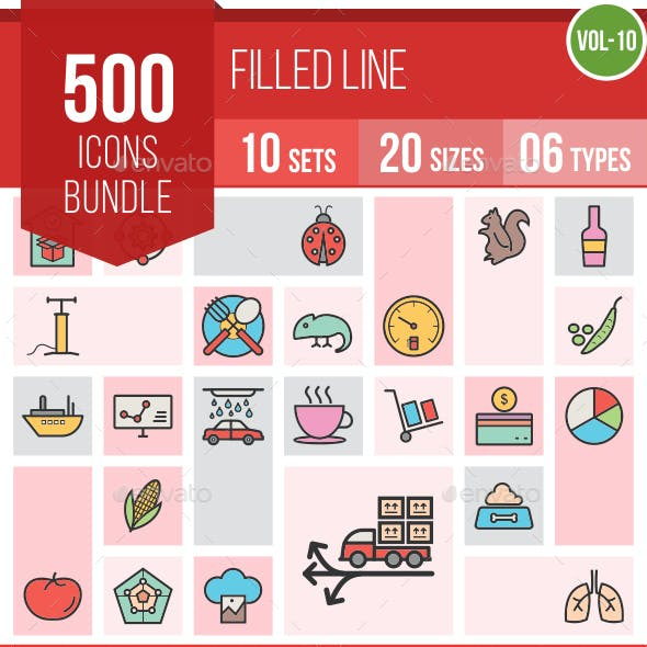500 Vector Filled Line Icons Bundle (Vol-10)