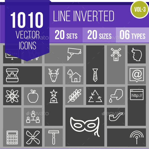 1010 Vector Inverted Line Icons