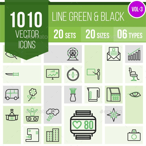 1010 Vector Green & Black Line Icons