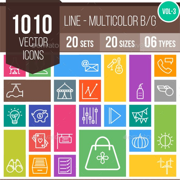 1010 Vector Multicolor B/G Line Icons