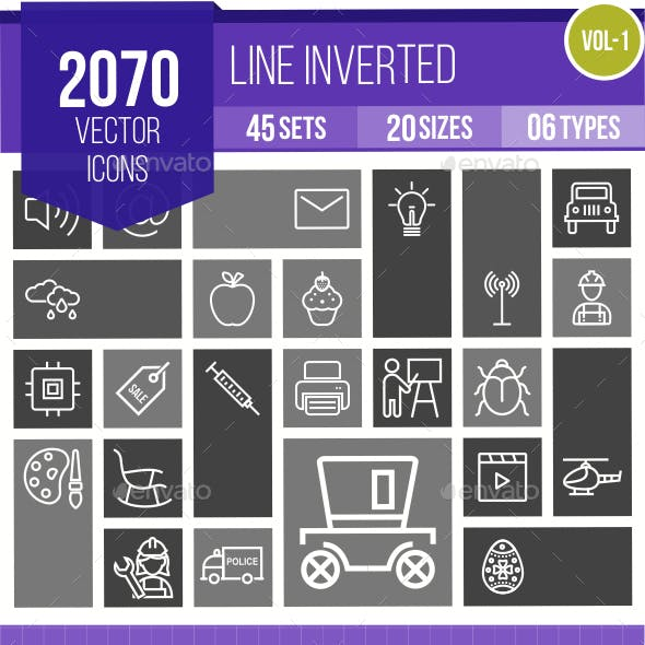 2070 Vector Inverted Line Icons