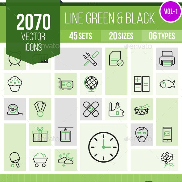 2070 Vector Green & Black Line Icons
