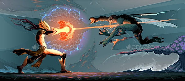 Battle Between Magician Elf and Reptilian Monster - Miscellaneous Characters