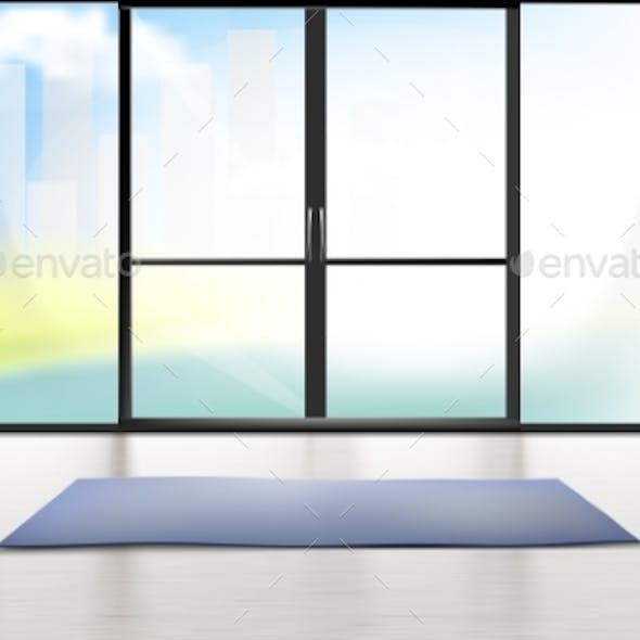 Vector Mockup of Entrance Room with Glass Door
