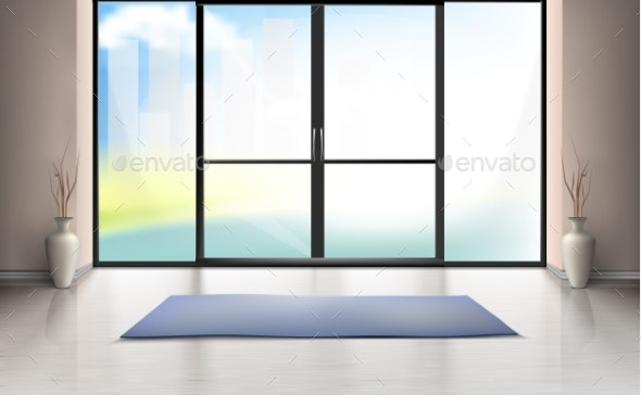 Vector Mockup of Entrance Room with Glass Door - Buildings Objects