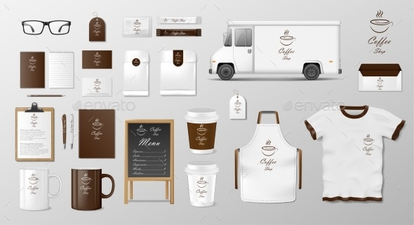 Mockup Set for Coffee Shop, Cafe or Restaurant - Food Objects