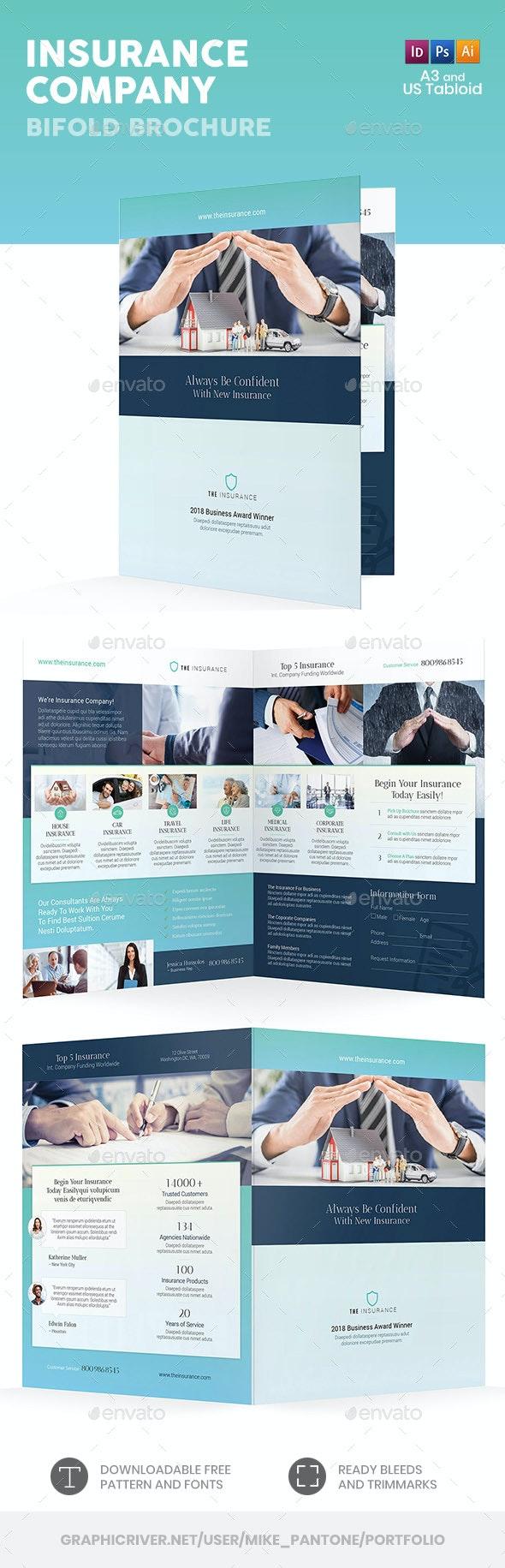 Insurance Company Bifold / Halffold Brochure 2 - Informational Brochures