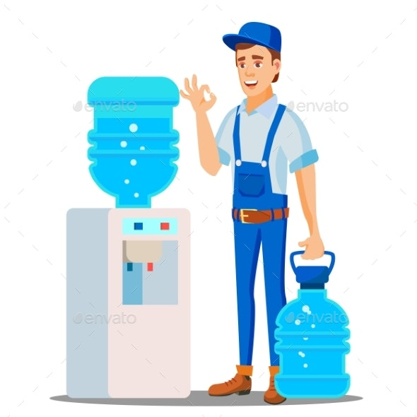 Water Delivery Service Man Vector - People Characters