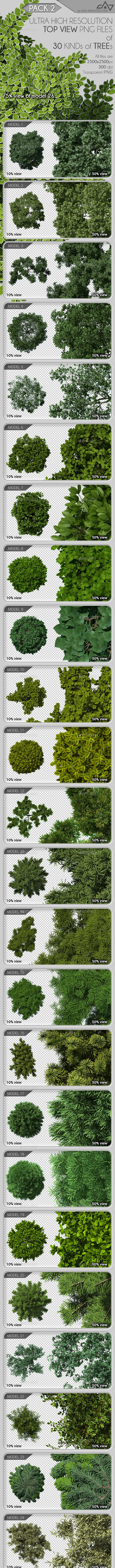 Top View Trees Pack 2 - Objects Illustrations