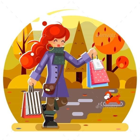 Autumn Shopping Girl at the Park - People Characters