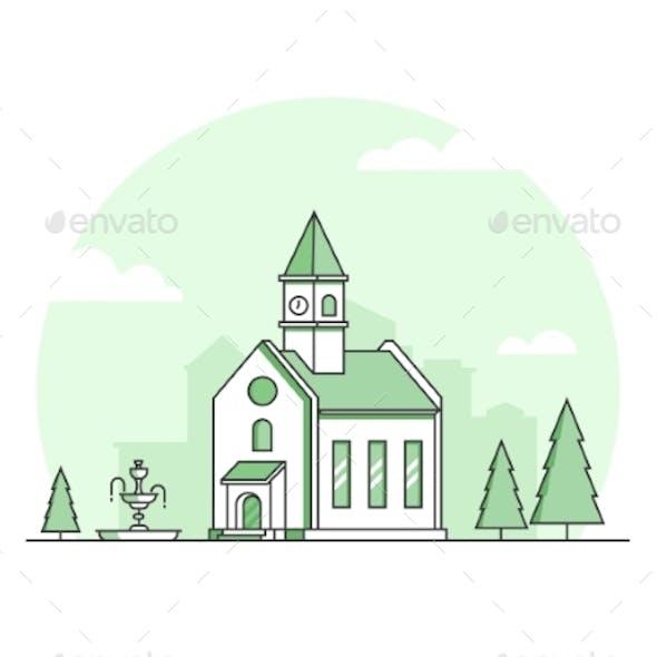 Small Church - Modern Thin Line Design Style