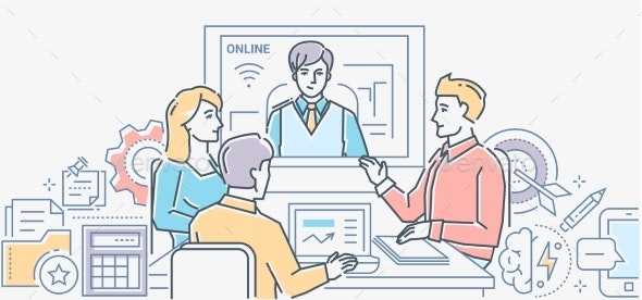 Video Conference - Colorful Line Design Style - Concepts Business
