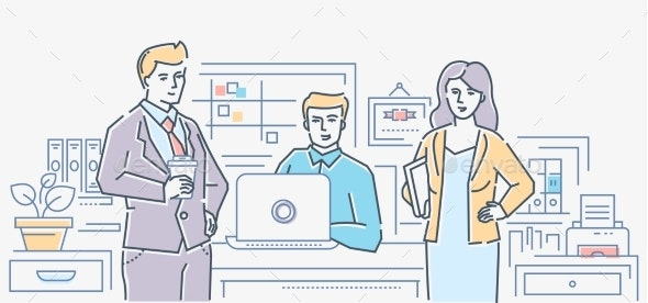 Business Colleagues - Colorful Line Design Style - Concepts Business