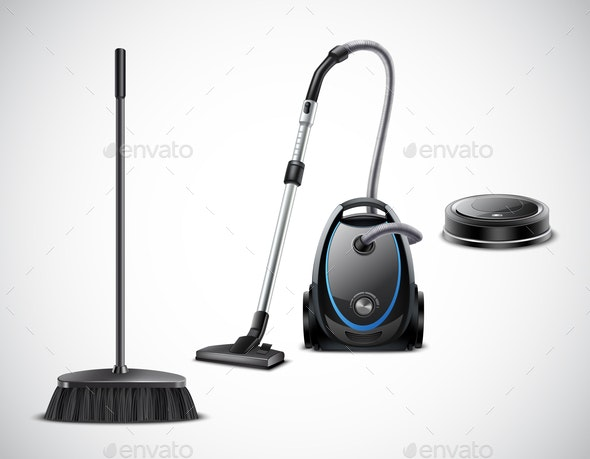 Vacuum Cleaner Evolution Realistic Illustration - Man-made Objects Objects