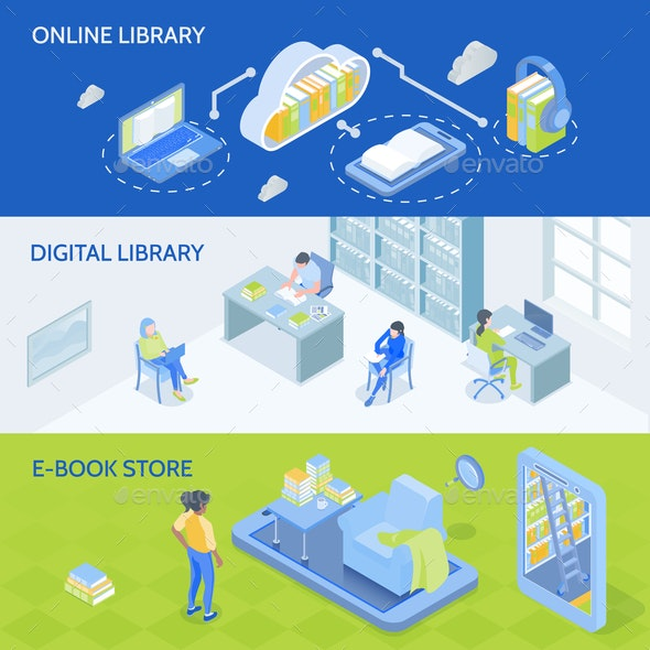 Online Library Isometric Banners - Computers Technology