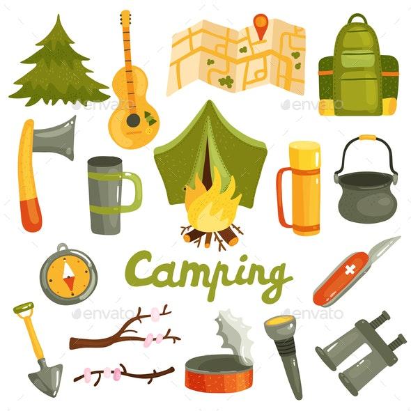 Camping Tourism Equipment Set - Sports/Activity Conceptual
