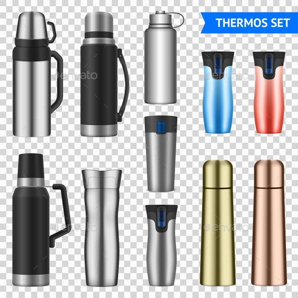 Vacuum Flask Realistic Set Transparent