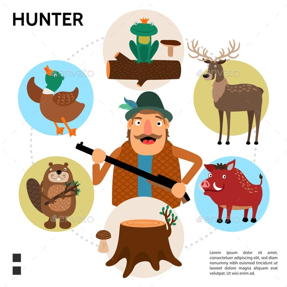 Flat Hunting Round Concept - Animals Characters