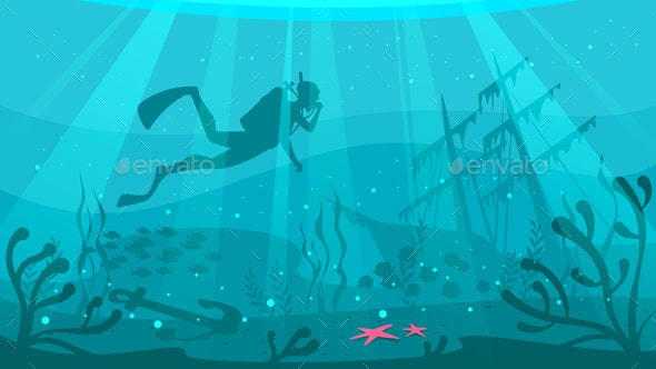 Scuba Diver Explores Ship Wreckage - People Characters