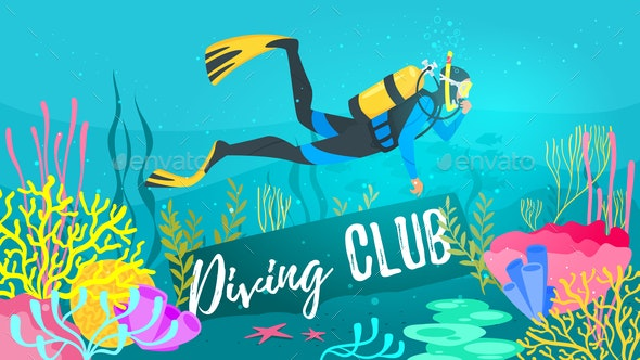 Scuba Diver explores the sea - People Characters