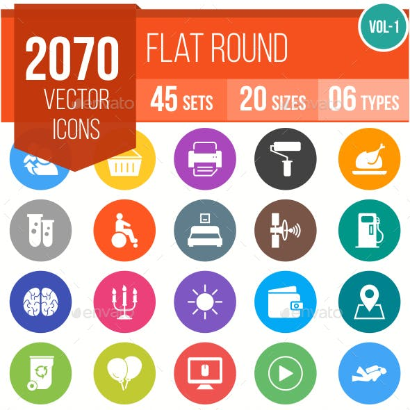 2070 Vector Colorful Round Flat Icons