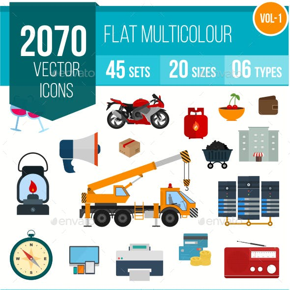 2070 Vector Colorful Flat Icons
