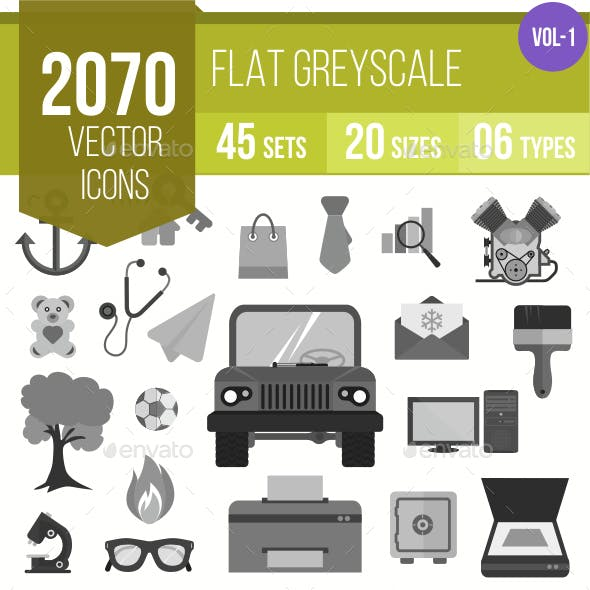 2070 Vector Greyscale Flat Icons