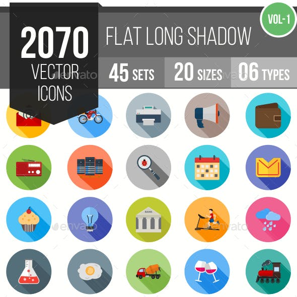 2070 Vector Long Shadow Colorful Flat Icons