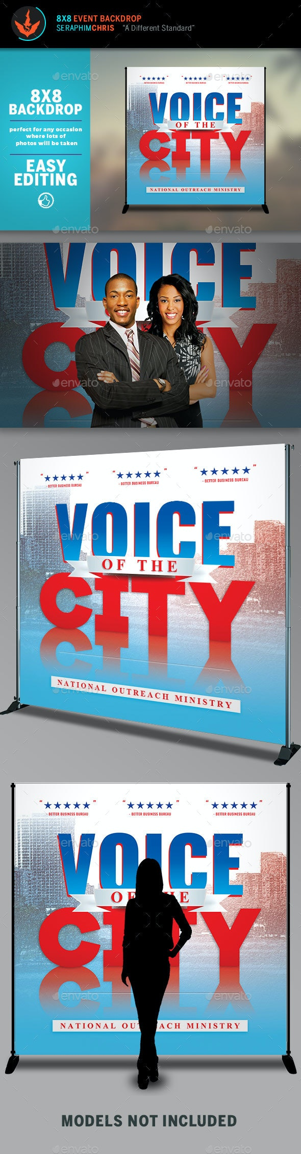 Voice of the City Charity Backdrop Template - Signage Print Templates