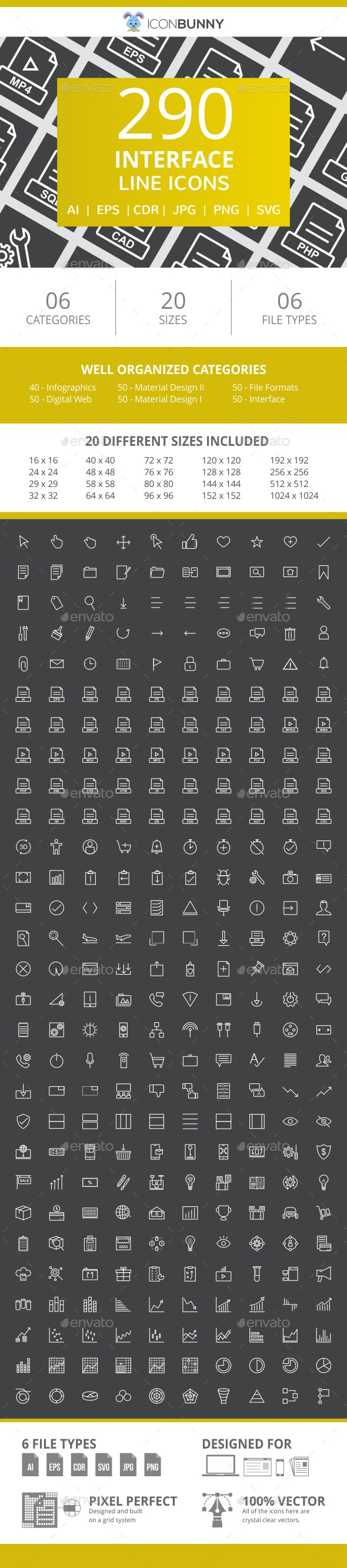 290 Interface Line Inverted Icons - Icons