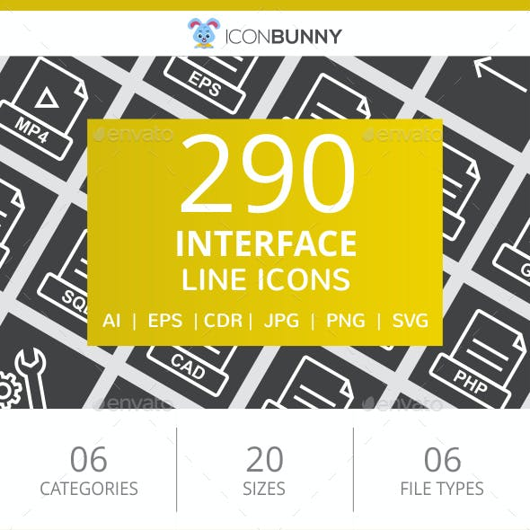 290 Interface Line Inverted Icons