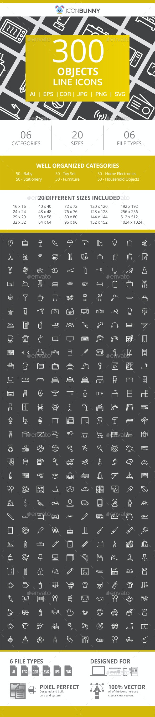 300 Objects Line Inverted Icons - Icons