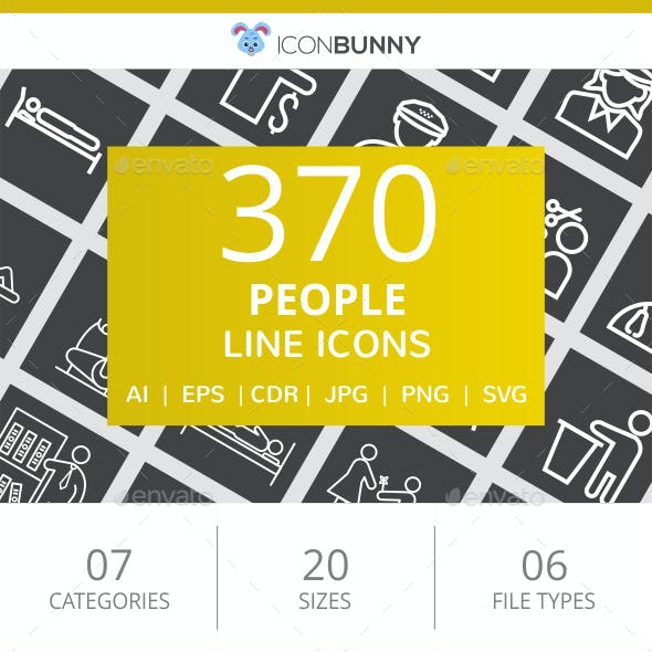 370 People Line Inverted Icons