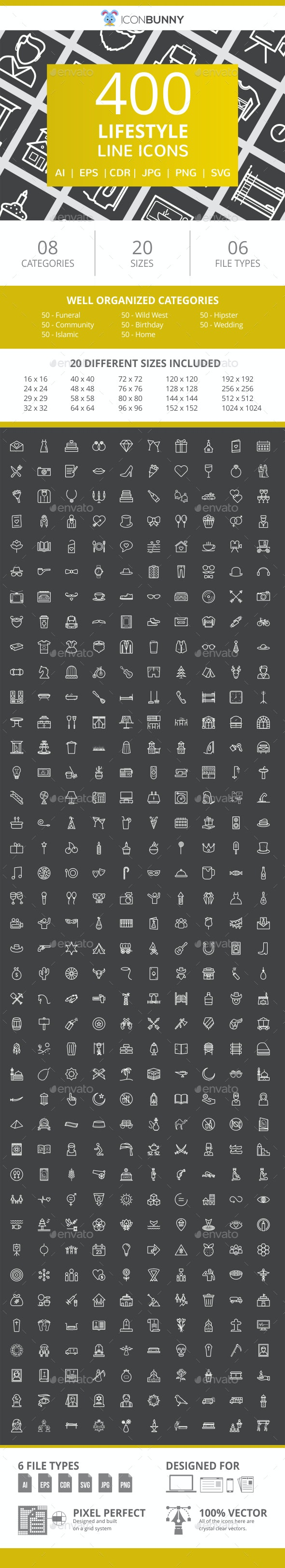 400 Lifestyle Line Inverted Icons - Icons