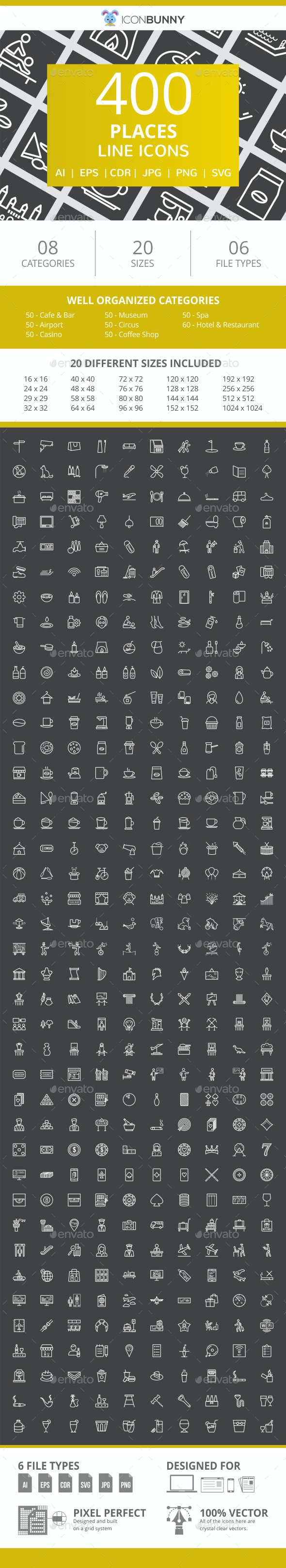 410 Places Line Inverted Icons - Icons