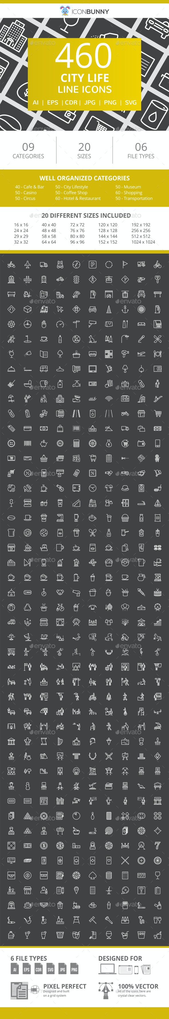 460 City Life Line Inverted Icons - Icons