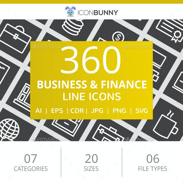 360 Business & Finance Line Inverted Icons
