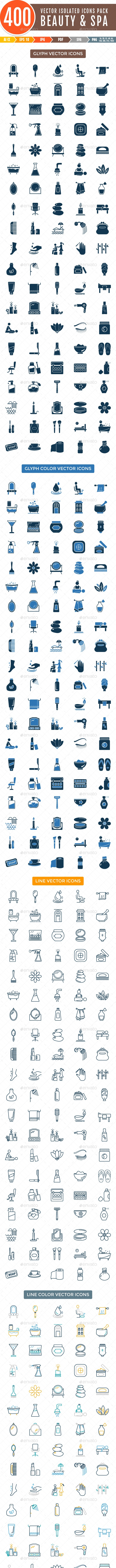 400 Beauty and Spa Vector Isolated Icons - Icons