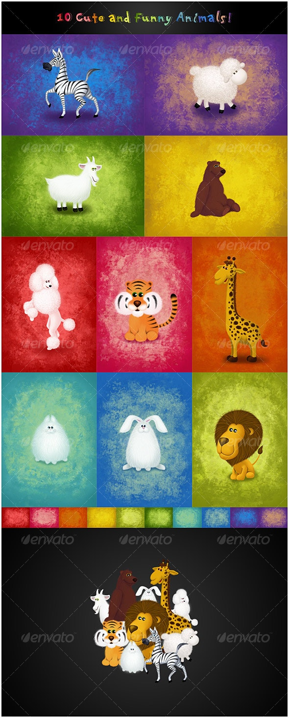 10 Cute and Funny Animals - Characters Illustrations