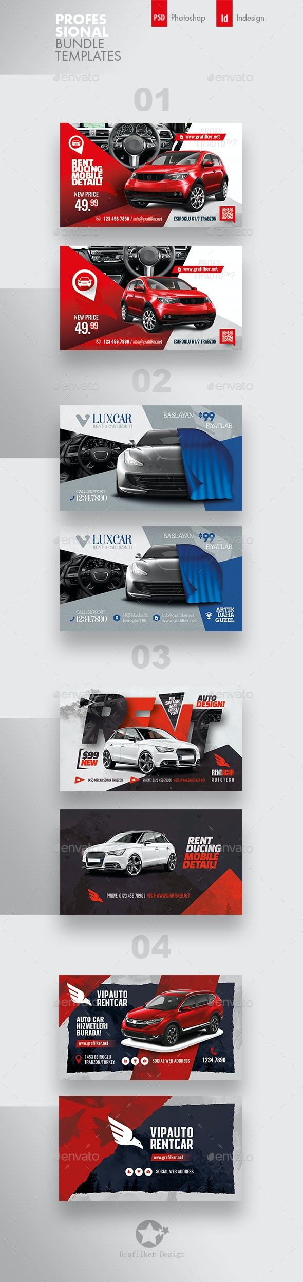Rent A Car Business Card Bundle Templates - Corporate Business Cards
