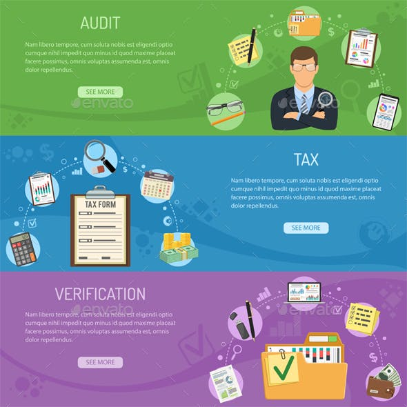Auditing, Tax and Business Accounting Banners