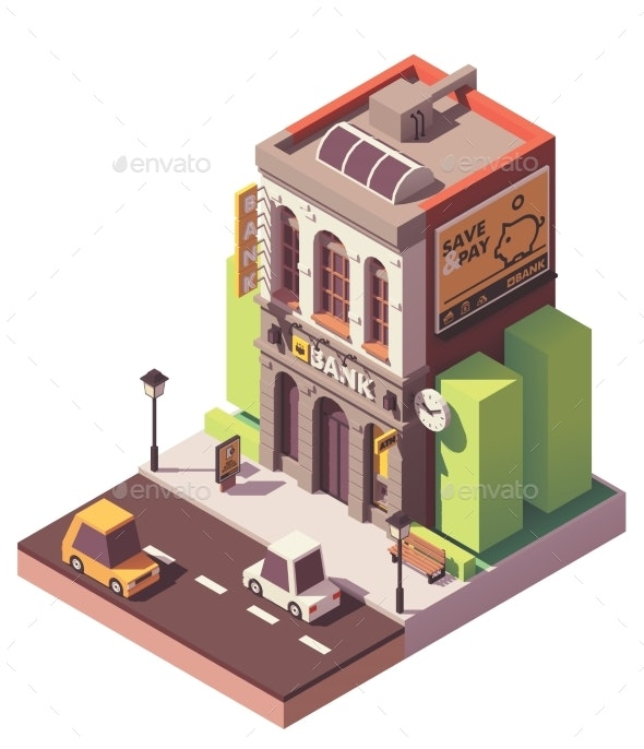 Vector Isometric Old Bank Building - Buildings Objects