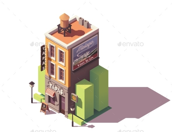 Vector Isometric Tapas Restaurant - Buildings Objects