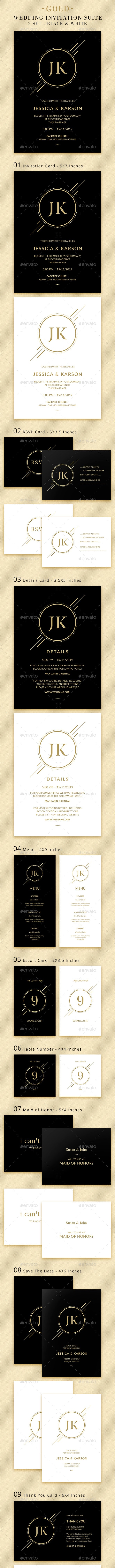 Wedding Invitation Suite - Gold - Weddings Cards & Invites