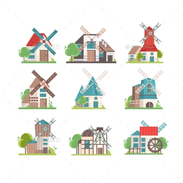 Traditional Rural Windmill Set - Buildings Objects