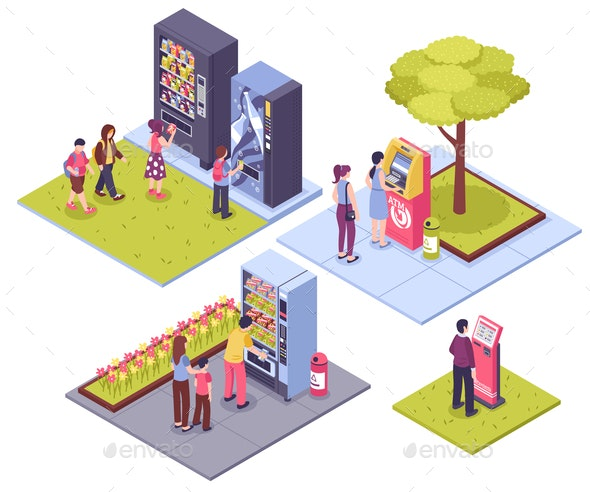 Vending Machines Isometric Concept - Food Objects