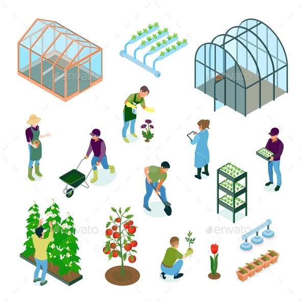 Greenhouse Isometric Set - Flowers & Plants Nature